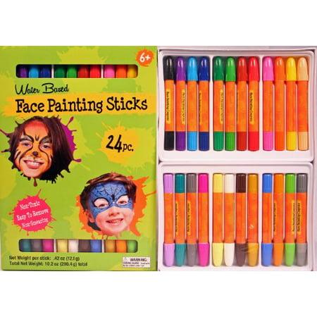 Face Painting Sticks 24 Color Set -Long Lasting Twist up Crayon Style Sticks