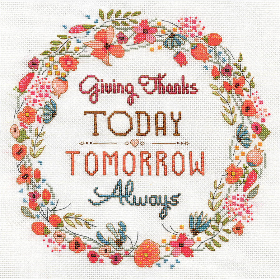 "Give Thanks Counted Cross Stitch Kit, 10"" x 10"", 14-Count"