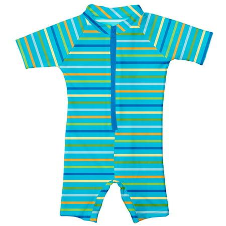- i play. Baby One Piece Swim Sunsuit, Aqua Multi Stripe, 6 Months
