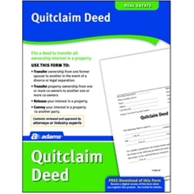 Adams Lf298 Quitclaim Deed Form - Walmart.Com