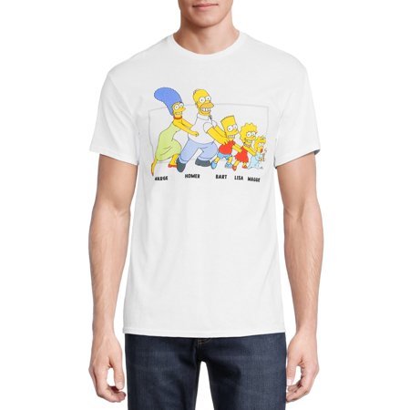 The Simpsons Men's & Big Men's Family Graphic Tee Shirt, Sizes S-2XL, The Simpsons Mens T-Shirts