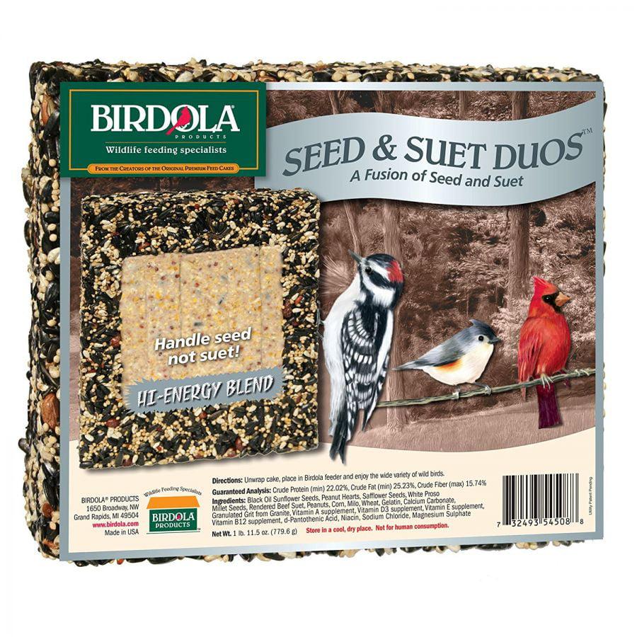 Birdola Hi-Energy Blend Seed Cake & Suet Duo 1.72 lbs Pack of 10 by
