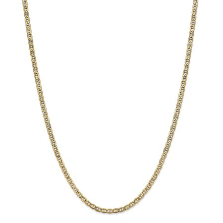 14k Yellow Gold 3.20mm Link Anchor Chain Necklace 24 Inch Pendant Charm Gifts For Women For Her ()