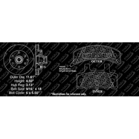 Max Brakes Front Premium Brake Kit [ OE Series Rotors + Metallic Pads ] TA139141 | Fits: 2000 00 GMC Savana 2500 w/6 Stud Wheels & 7300LB GVW - image 2 de 8