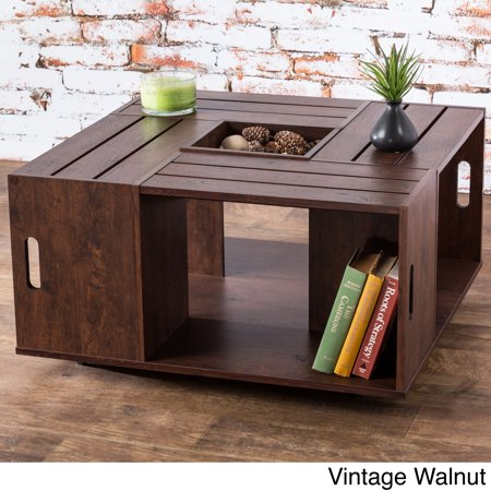 Furniture Of America The Crate Square Coffee Table With Open Shelf