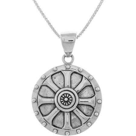 Viking Shield Pendant (Sterling Silver Viking Shield Wheel of Balance Pendant on 18 Inch Box Chain Necklace )