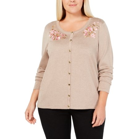 Women Sweater Plus Cardigan Floral Embroidered $54 3X