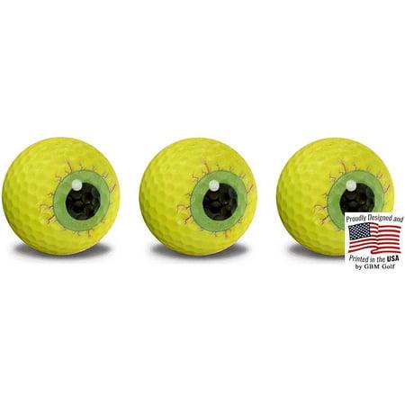 Halloween Monster Eyeball Golf Balls – 3 Ball pack - Frightening Novelty Print Golf Balls Designs