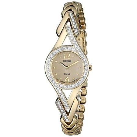 Solar Gold Dial Gold-Tone Steel Ladies Watch SUP176