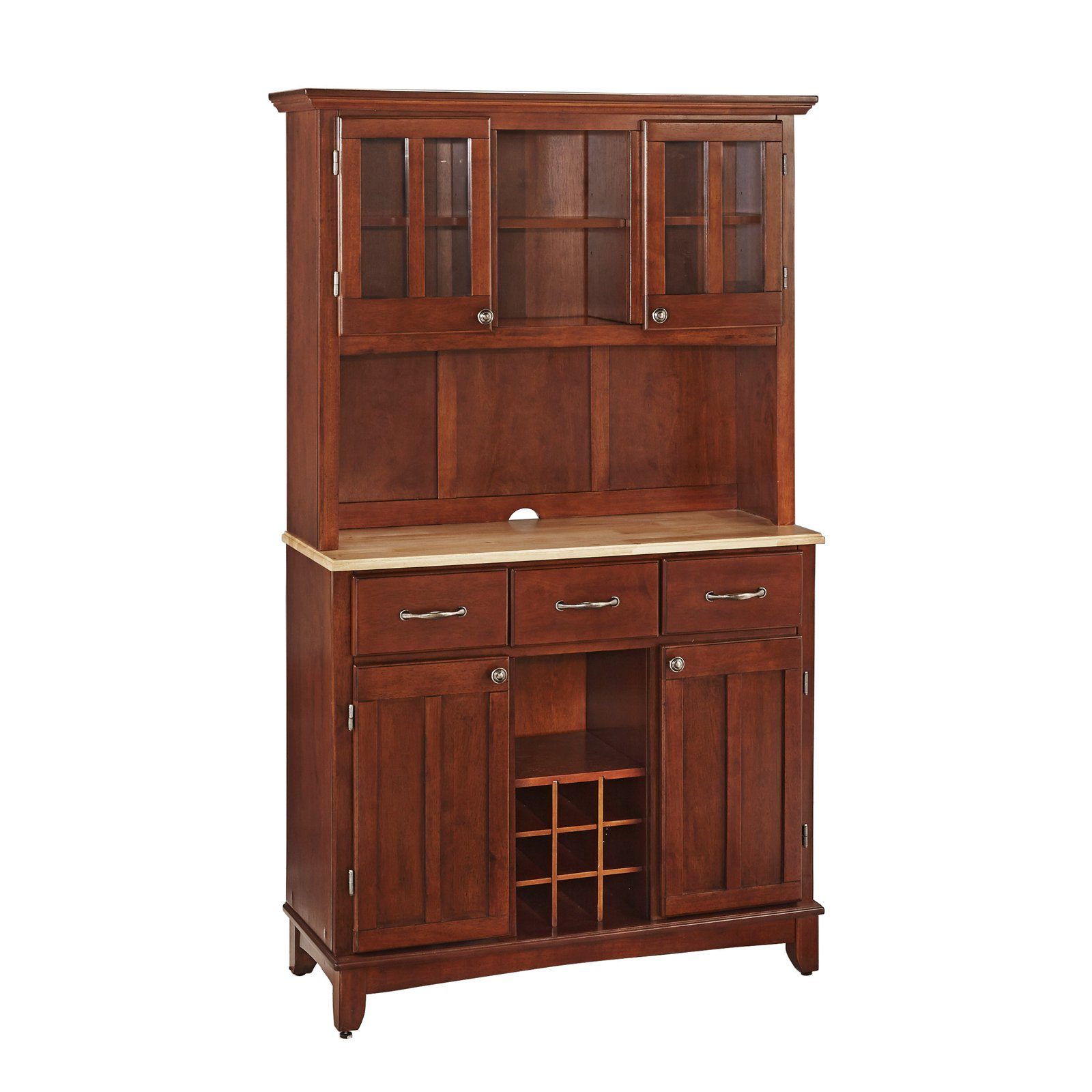 Home Styles Buffet of Buffets with Stainless Top and Hutch by HomeStyles