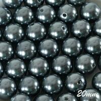 20MM Faux Pearl Beads Garland Vase Filler Flower Center - Charcoal 120 PCS