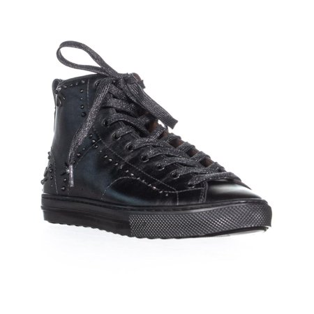 Womens Coach C216 Bejeweled High Top Lace Up Sneakers, Gunmetal ()