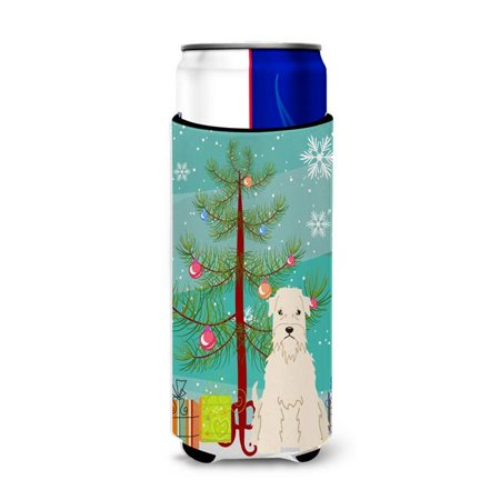Merry Christmas Tree Soft Coated Wheaten Terrier Michelob Ultra Hugger for Slim Cans ()