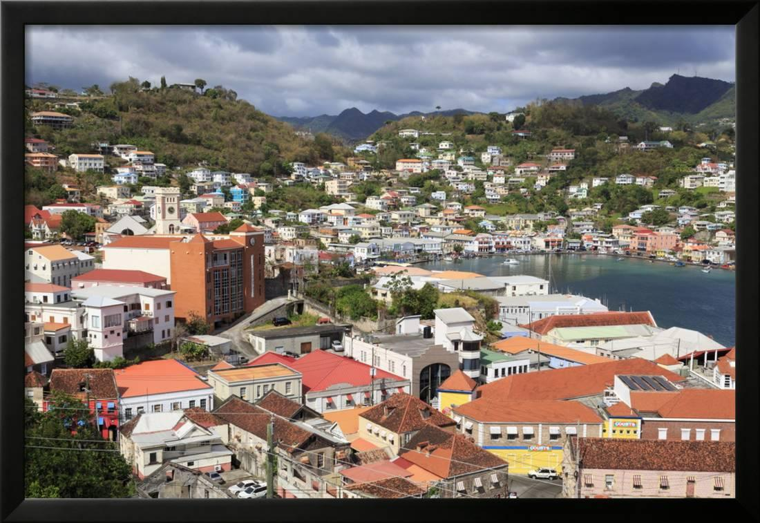 Downtown St  Georges, Grenada, Windward Islands, West Indies, Caribbean,  Central America Framed Print Wall Art By Richard Cummins
