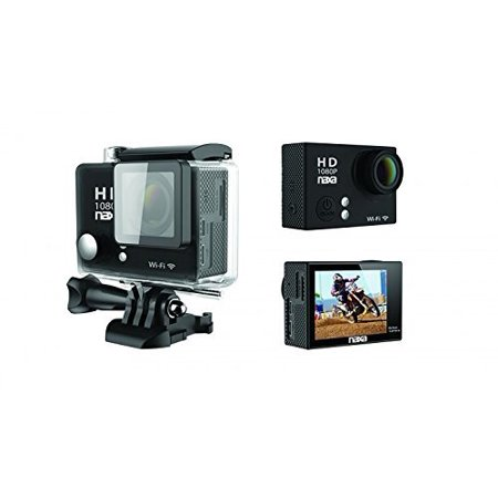 "10.1 Mp Cmos Sensor - NDC-404 12MP Waterproof 1080p Action Camera with Wi-Fi, Shiny Black, Optical sensor: CMOS 1080p (1/2.7""), 12 MP with interpolation By Naxa"