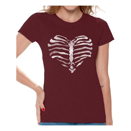 Awkward Styles Women's Heart Ribcage Graphic T-shirt Tops Skeleton Ribcage Day of Dead Halloween