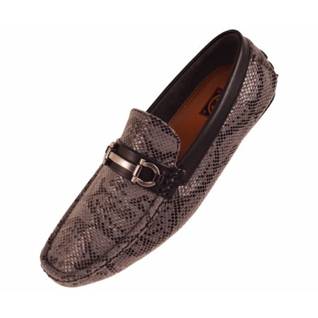 Concrete Mens Driving Shoe Loafer in Grey Snake Skin Print w. Silver Ornament : Style