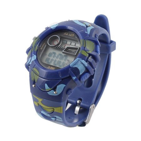 Hour Stopwatch - Women Blue Camouflage Printed Second Hour Date Display Stopwatch Sports Watch