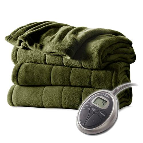 Sunbeam Channeled Velvet Plush Electric Heated Blanket Twin Olive