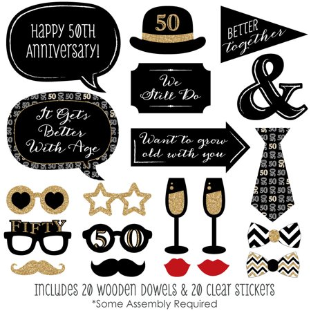 - 50th Anniversary - Photo Booth Props Kit - 20 Count