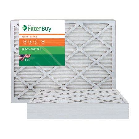 AFB Bronze MERV 6 20x25x1 Pleated AC Furnace Air Filter. Pack of 6 Filters. 100% produced in the USA.