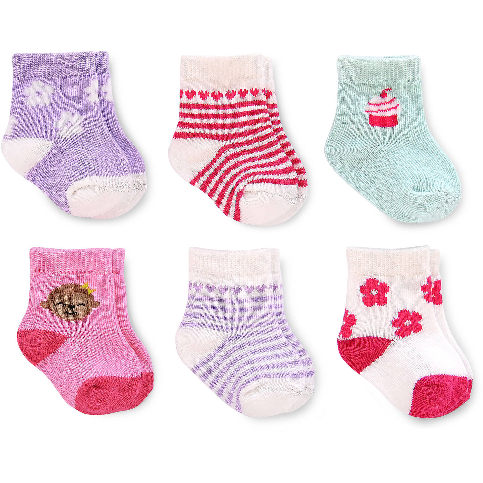 Child of Mine by Carter's Newborn Baby Girl Computer Crew Socks, 6 Pack