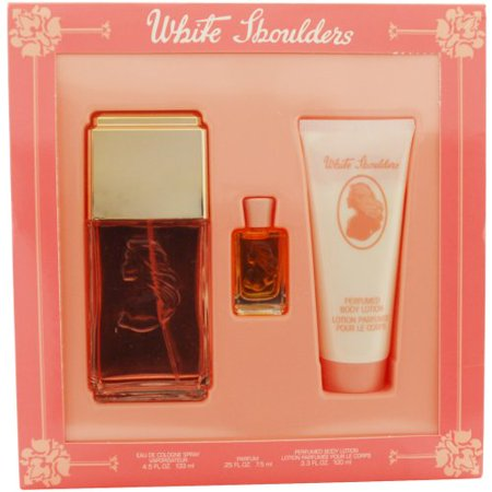 White Shoulders For Women Set, Eau De Cologne Spray 4.5 oz, Body Lotion 3.3 oz & Parfum .25 oz Mini Always Eau De Parfum Purse Spray