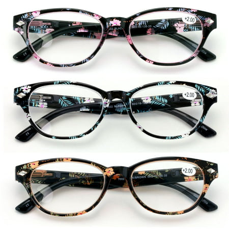 V.W.E. WoMen's Floral Oval Reading Glasses with Spring Hinge, 3 Pair 10 Pair Reading Glasses