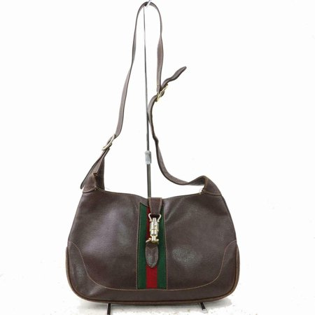 Jackie Hobo Sherry Piston Web Long Strap O 870764 Brown Leather Shoulder Bag