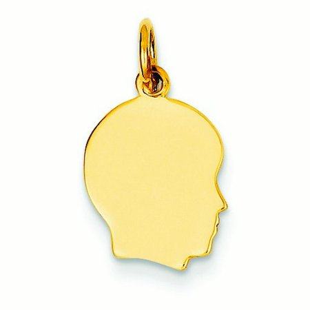 14K Yellow Gold Solid Polished Engravable Plain Sml   027 Gauge Facing Right Boy Head Charm