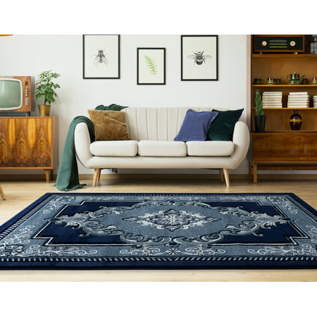 United Weavers Drachma Patras Oriental Navy Woven Olefin/Polypropylene Area Rug or Runner ()