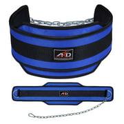 Neoprene Weight Lifting Dip Belt Exercise Belt Fitness Body Building Belt Blue