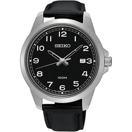 SUR159P1,Men's quartz,black dial,Stainless Steel Case,Leather Strap,Hardlex Crystal,date,100m WR,SUR159