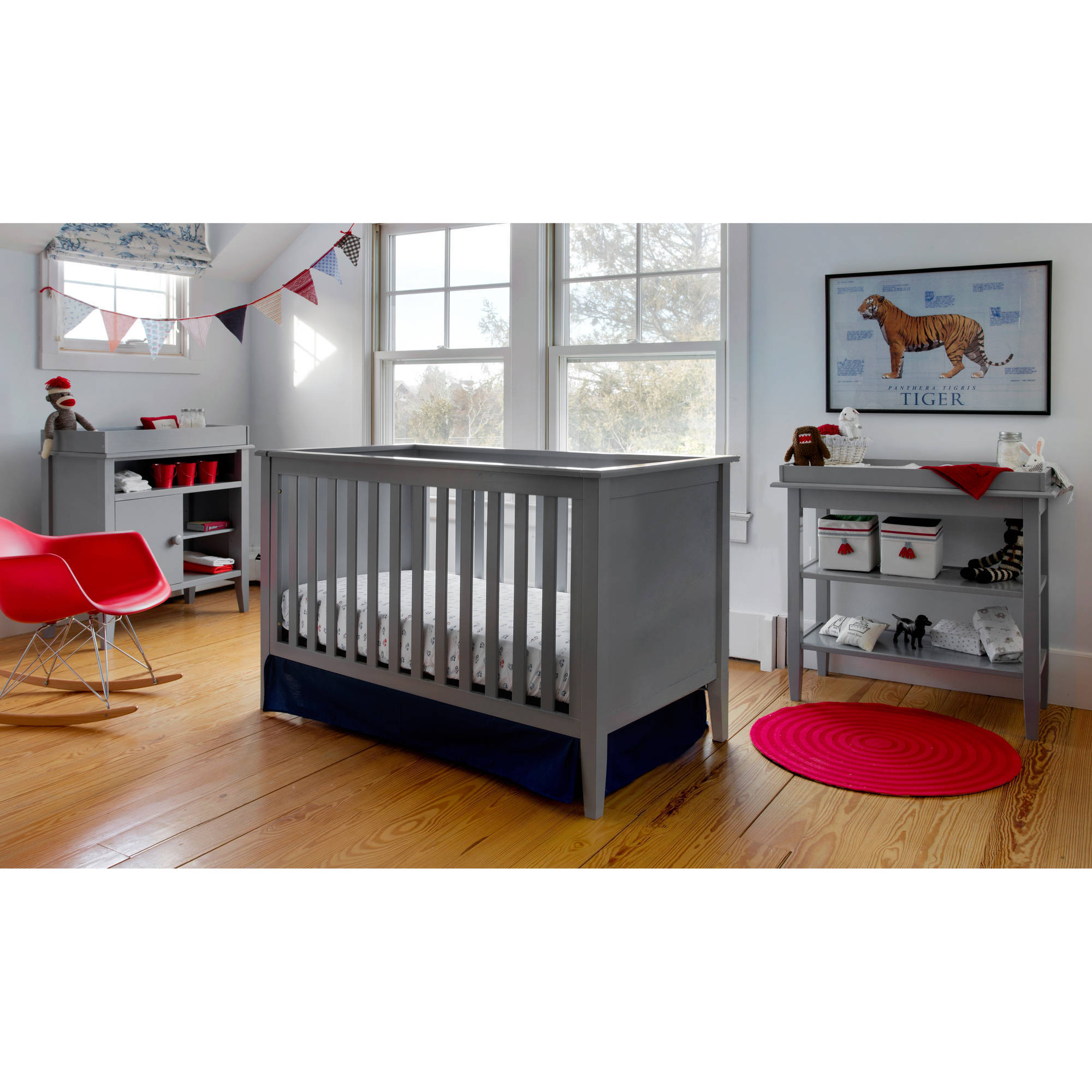 Lolly & Me Color Me 3-in-1 Convertible Crib Pebble gray