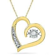 Diamond 10K Yellow Gold Sparkling Heart Necklace Pendant 1/20 Ctw