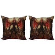 Fantasy World Throw Pillow Cushion Cover Pack of 2, Devil Shadow with Wings Primary Opponent of Rising Hell Afterlife Image, Zippered Double-Side Digital Print, 4 Sizes, Red Grey, by Ambesonne