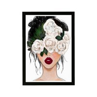 """Wynwood Studio Fashion and Glam Framed Wall Art Prints 'White Roses Red Lips' Portraits Home Décor - White, Red, 13"""" x 19"""""""