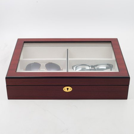 6 Piece Cherry Wood Eyeglass Display Case for Oversized Sunglasses & Glasses Organizer Collector Box