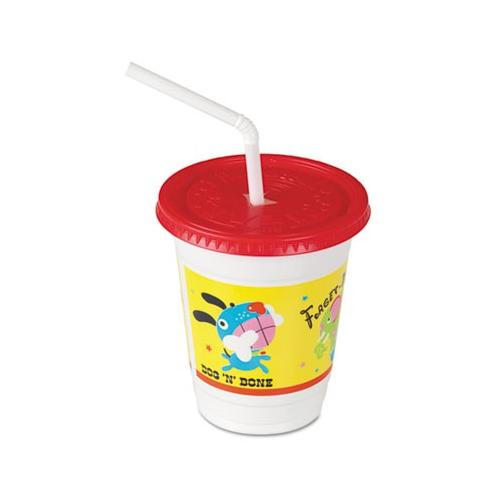Solo CC12C-J5146 12 Ounce Critters Design Kids Plastic Cups with Straws SCCCC...