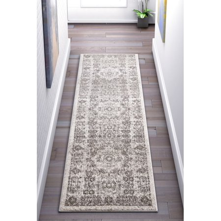 Well Woven Camila Medallion Ivory Distressed Traditional Vintage Persian Floral Oriental Area Rug 2x7 (2'3