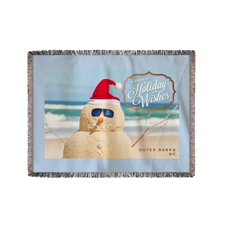 Outer Banks, North Carolina - Warmest Holiday Wishes - Snowman on the Beach - Lantern Press Photography (60x80 Woven Chenille Yarn Blanket) - Snowman On The Beach