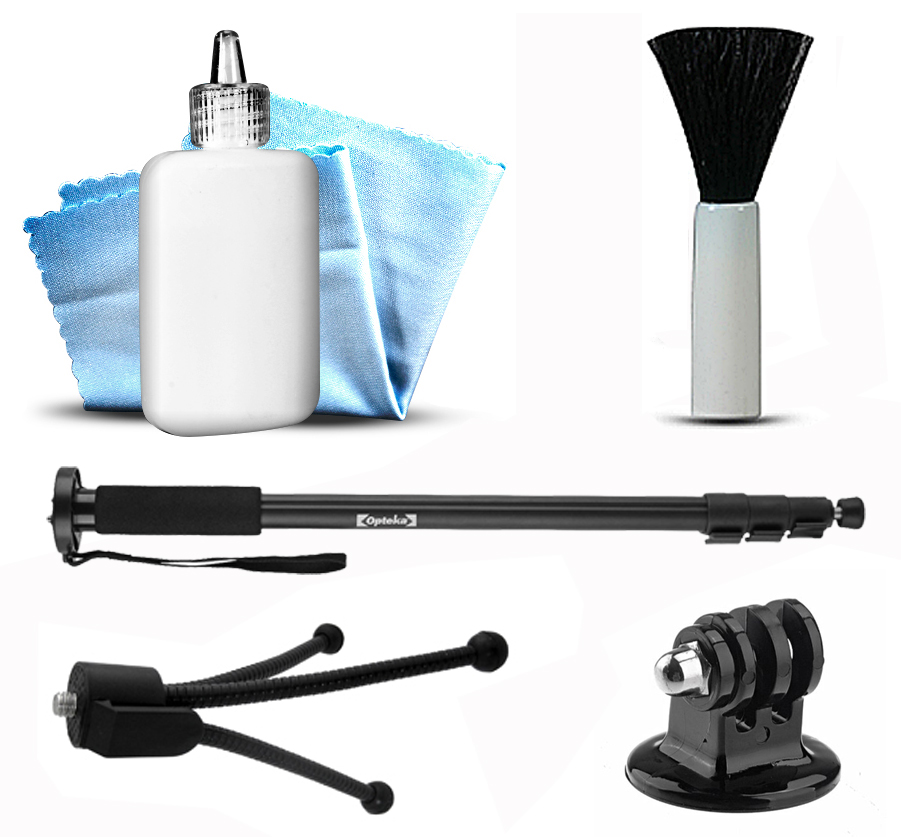 Self Shot Photo Video Monopod Stick Pole Mount + Tripod Adapter + Dust Removal Cleaning Kit for GoPro Hero4 Hero3+ Hero3 Hero2 Hero 4 3+ 3 2 1 Camera Camcorder
