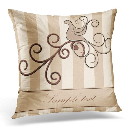 CMFUN White Neutral Bird with Swirls Abstract Pillow Case Pillow Cover 20x20 inch