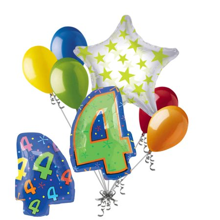 7 pc 4th Birthday Theme Balloon Bouquet Party Decoration Number 4 Primary Color](Paris Themed Party Decorations)