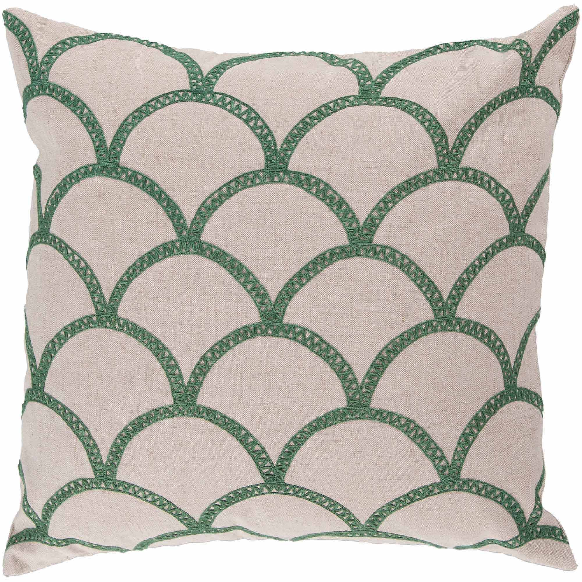 Art of Knot Syldan Hand Crafted Scalloped Cotton Decorative Pillow with Poly Filler, Emerald