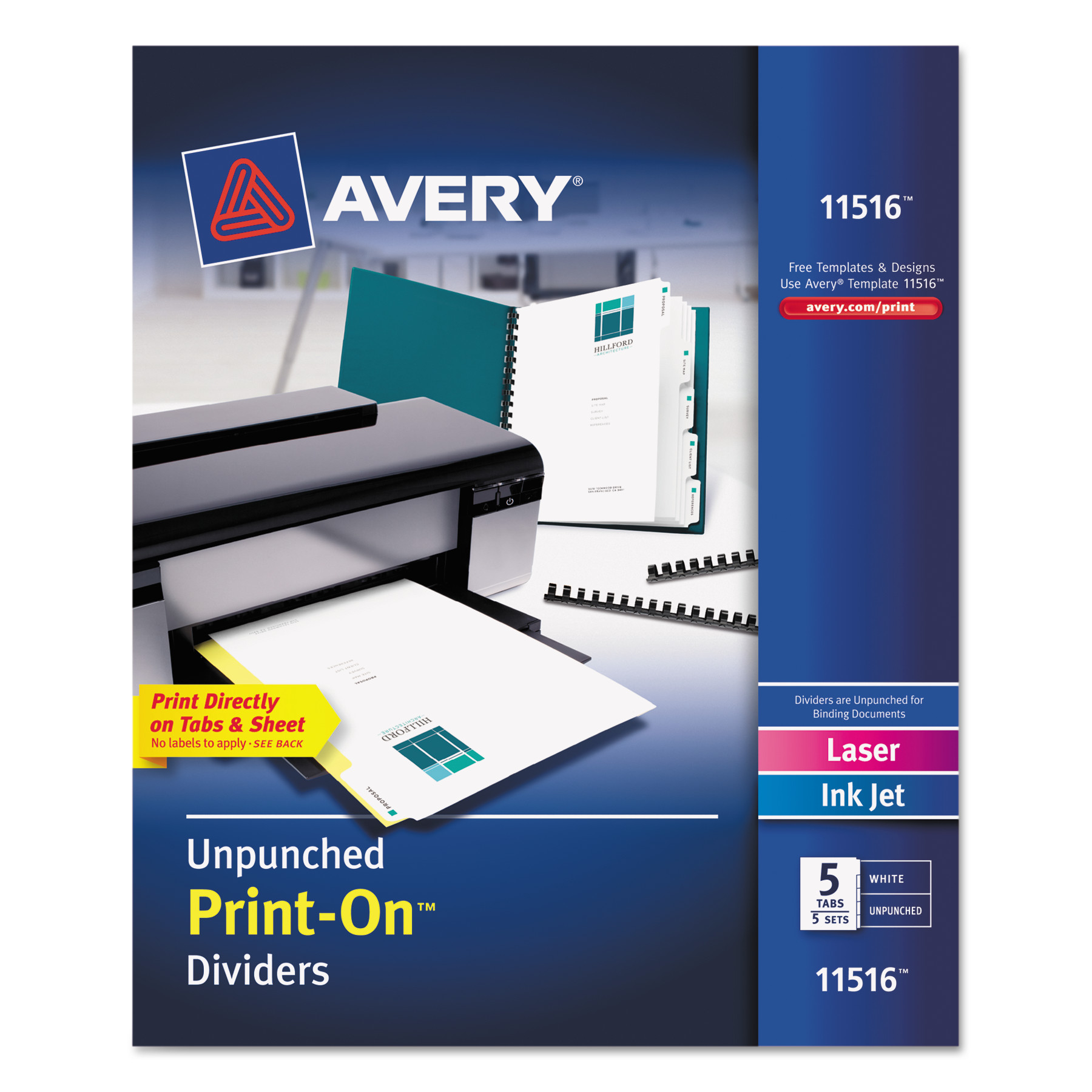 Avery Customizable Print-On Dividers, 5-Tab, Letter, 5 Sets ...
