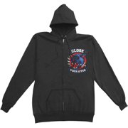 Close Your Eyes Men's  Panther Zippered Hooded Sweatshirt Black