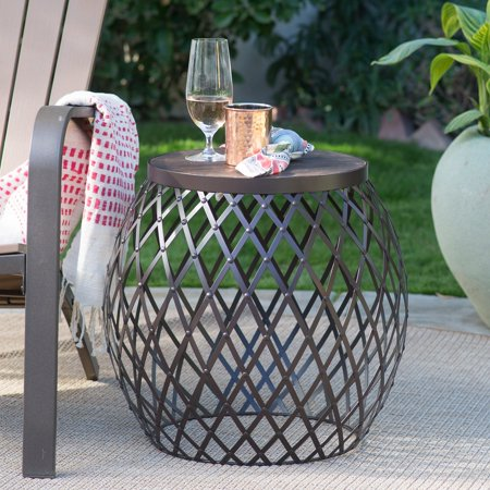 Coral Coast Darby 20-in. Round Metal Patio Side Table with Wood Top ()