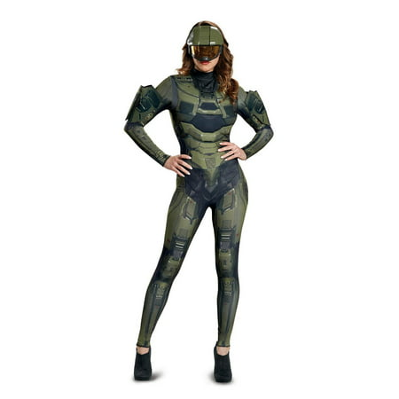Halo Master Chief Women's Deluxe Adult Halloween Costume](Halo Master Chief Outfit)