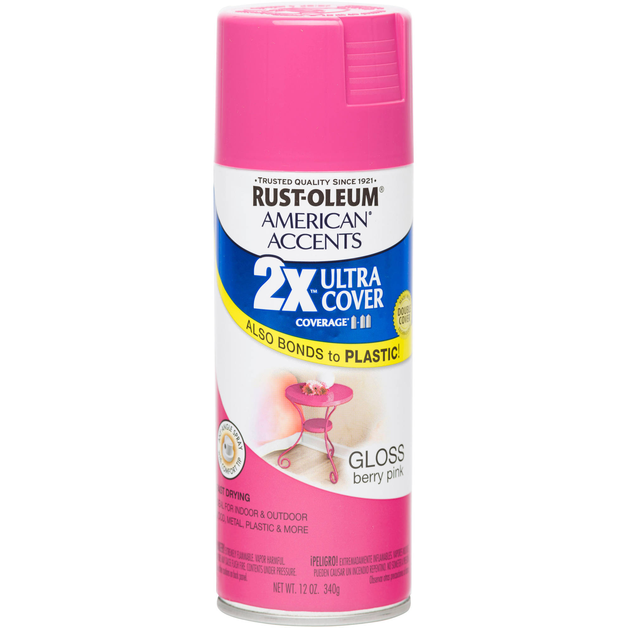 Rust-Oleum American Accents Ultra Cover 2X Gloss Berry Pink Spray Paint and Primer in 1, 12 oz